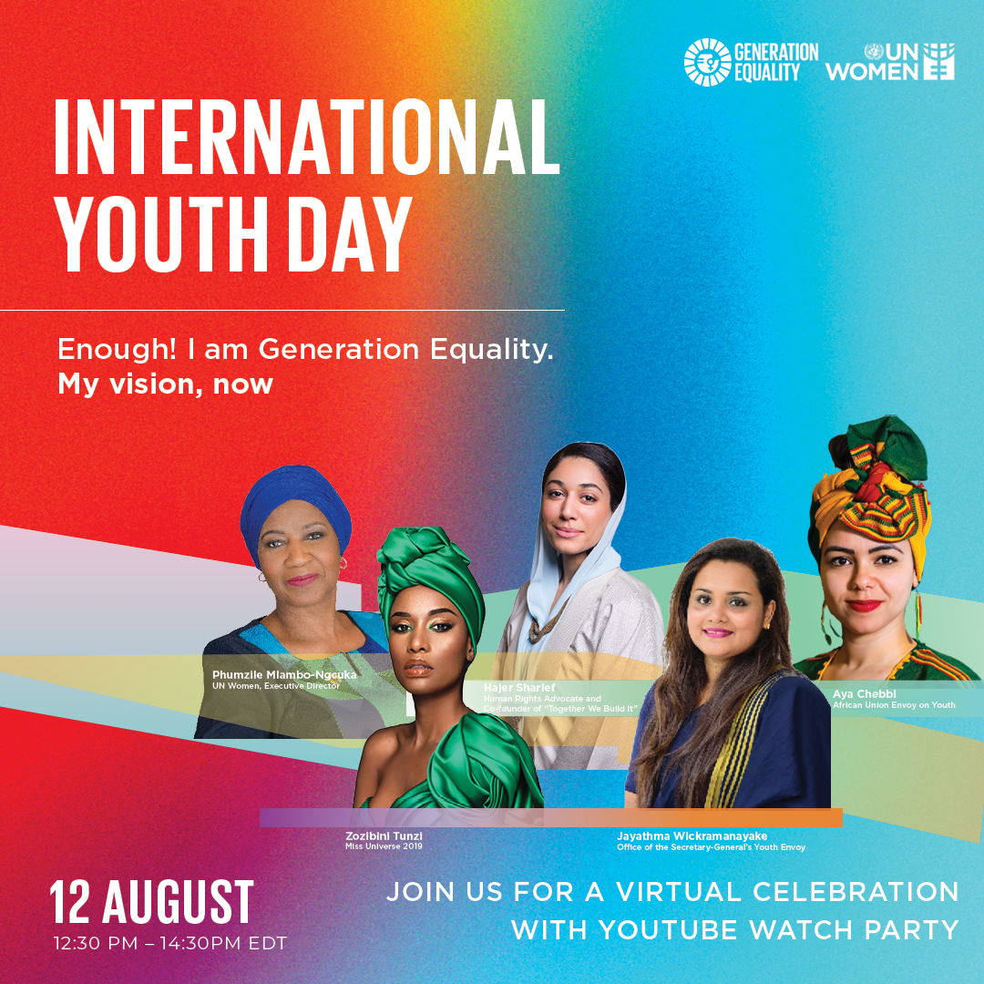 Join us for a virtual celebration of International Youth Day with Youtube watch . Live on 12 August, 12.30-14.30 EDT.