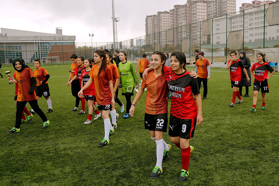 On 29 November 2017, two women's football teams, Karatas and Gazikent, played a special match to draw attention to the 16 Days of Activism campaign In Turkey.   Photo: UN Women