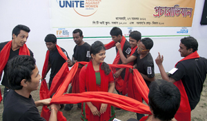 At the PTI School in the Bagerhat district of southwestern Bangladesh, youth perform interactive theatre on violence against women.