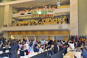 Delegates rejoice after the results of a vote to adopt Convention 189 on domestic work at the 100th Session of the International Labour Conference in Geneva, on 16 June 2011. Photo credit: International Labour Organization