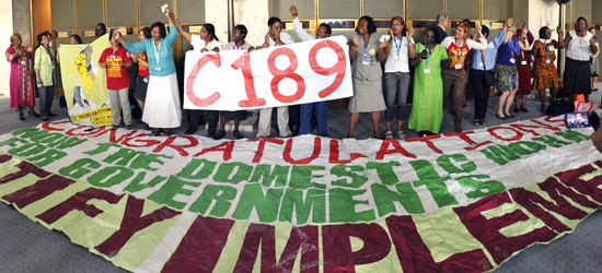 Domestic workers rejoice after the results of a vote on the ILO Convention on Domestic Workers at the 100th Session of the International Labour Conference, in Geneva, on 16 June 2011. Photo credit: International Labour Organization
