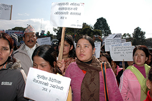 Nepali returned women migrant workers join a national rally organized by the Nepali Government and the National Network for Safe Migration on International Migrants Day, 18 December, 2012. Photo credit: UN Women