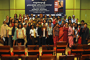 Survivors of sexual violence from Cambodia, Timor Leste and Bangladesh wrap up the October 2012 Women's Hearings at Phnom Penh, Cambodia. This event was co-sponsored by the Victims Support Section of the Extraordinary Chambers in the Courts of Cambodia.