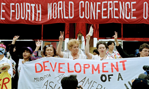 Participants at the Non-Governmental Organizations Forum meeting held in Huairou, China, as part of the United Nations Fourth World Conference on Women held in Beijing, China on 4-15 September 1995.