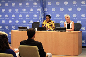 Phumzile Mlambo-Ngcuka held her first UN press conference on 12 September 2013.