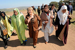 On the last day of her trip to Morocco to commemorate International Women's Day, UN Women Executive Director Michelle Bachelet, met with rural women of the Soulalyates ethnic group, who have been striving for inheritance and property rights.  Photo: UN Women/Karim Selmaoui