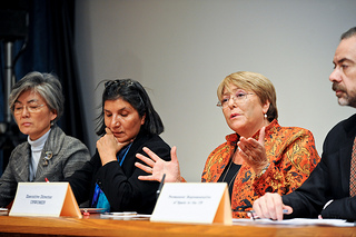 UN Women Executive Director Michelle Bachelet participates in a panel discussion during CSW57