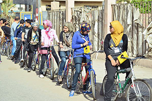 Girls rode bicycles, an uncommon sight, as part of a campaign to raise awareness against sexual harassment in Al Sharqia governorate, Egypt. Photo: Zagzig University Team