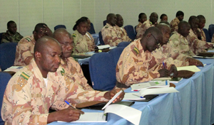 A row of Republican Guards take part in a training session at the International Conference Centre in Bamako on 29 January, 2013
