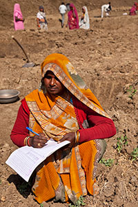 "Hari Bai, a 35-year-old member of the Scheduled Caste community and first-time ""mate"" at MNREGA, supervises work at Village Satavasa in Lalitpur, Uttar Pradesh. Photo: UN Women/Gaganjit Singh Chandok"