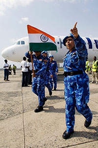 Marking a first in the history of UN peacekeeping, an all-female Formed Police Unit arrived in Liberia on 30 January to strengthen the rule of law and maintain peace in the war-torn country as part of the United Nations Mission in Liberia(UNMIL). The 103-strong operational unit from India will receive logisitics support from 22 men. UN Photo/Eric Kanalstein