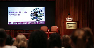 UN Women Executive Director Phumzile Mlambo-Ngcuka introduces the findings of a ground-breaking study on gender stereotypes in global films by the Geena Davis Institute at an event to present its findings on 22 September, 2014. Photo: UN Women/Ryan Brown