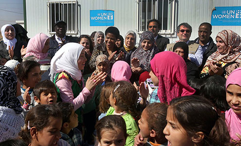 UN Women Executive Director Phumzile Mlambo-Ngcuka visits Za'atari refugee camp for Syrian refugees during her visit to Jordan from 20 to 23 February 2014. Photo: UN Women Jordan/Abdullah Ayoub