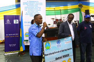 "Gaby Umutare, a 25-year-old singer-songwriter, awarded second place in the Kigali Safe City Programme's song competition, supported by the UNHATE Foundation, for his song ""Sing Yes."" (Photo: One UN Rwanda.)"