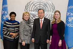 UN Women Executive Director Phumzile Mlambo-Ngcuka, former U.S. Secretary of State Hillary Clinton, UN Secretary-General Ban Ki-moon and Chelsea Clinton pose for a photo op. Photo: UN Photo/Evan Schneider