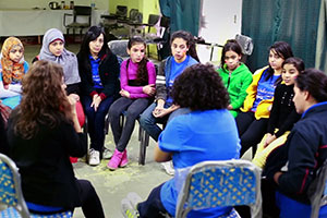 Young girls at discussion in Cairo