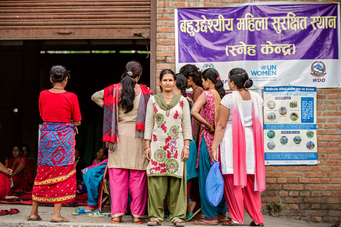 Sreejana Pyakurel, Psycho social first aid worker, stands outside before briefing the women survivors of Nepal Earthquake in Panchkhal. July 1, 2015