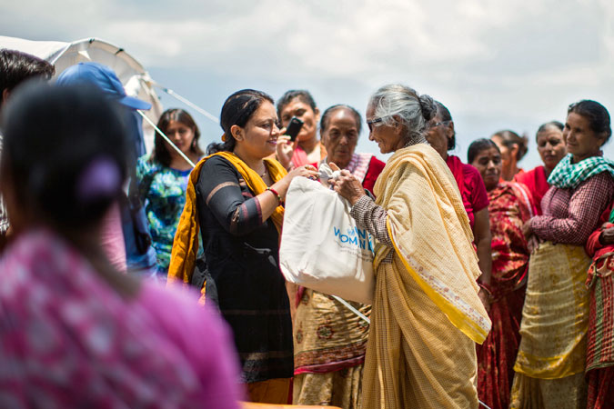 UN Women and WHR distribute dignity kits to earthquake-affected women in Dharmasthali.