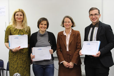 UN Women Representative to Bosnia and Herzegovina, Anne-Marie- Esper Larsen, (second to the right) poses with the three winning writers.