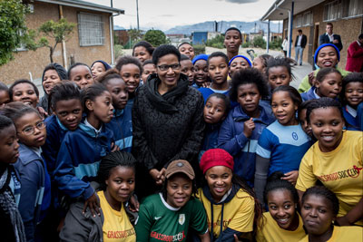 UN Women Executive Director Phumzile Mlambo-Ngcuka visits the United Nations Trust Fund (UNTF) - supported Grassroot Soccer SKILLZ Street intervention at the Yomelela Primary School, Khayalitsha Cape Town   Photo: UN Women/Karin Schermbrucker