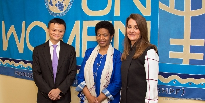 Jack Yun Ma, Executive Chair of the Alibaba Group; UN Women Executive Director Phumzile Mlambo-Ngcuka; and Melinda Gates, Co-Chair and Trustee of the Gates Foundation opened the event on 26 September. Photo: UN Women/Ryan Brown
