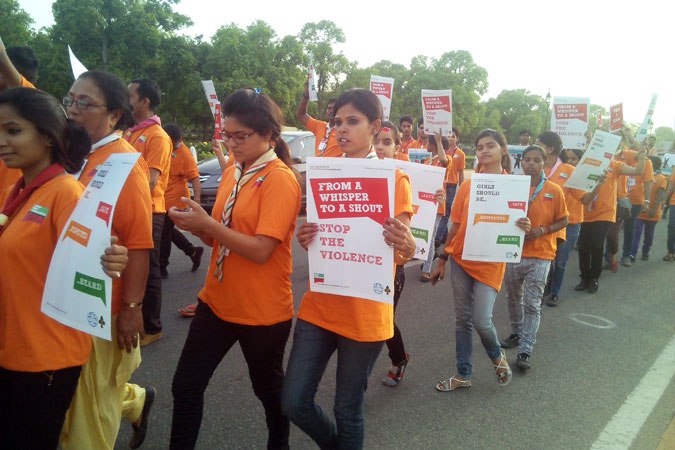 "In India, Girl Guides and Boy Scouts learned about violence against women and girls using the Voices against Violence curriculum and organized a ""Stop the Violence"" march in support of the UNiTE to End Violence against Women Campaign in May, 2015, near India Gate, New Delhi. Photo: Bharat Scouts and Guides"