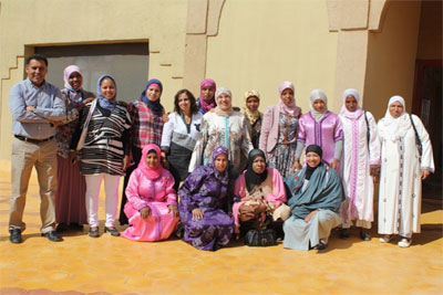 Workshop on strengthening the capacities of female leaders of agricultural cooperatives in oasis regions as part of the monitoring and evaluation of adaptation projects for climate change in Errachidia Maroc. Photo courtesy of Brahim Jaafar (far left).
