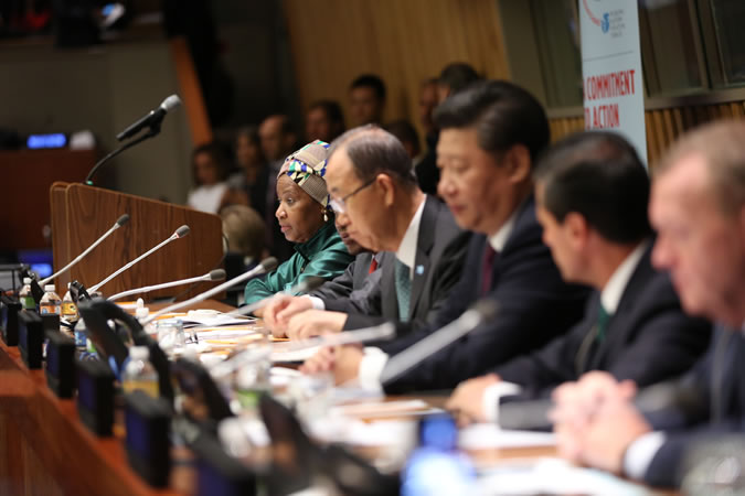 "World leaders convene at the United Nations on 27 September 2015 for the ""Global Leaders' Meeting on Gender Equality and Women's Empowerment: A Commitment to Action"" to personally commit to ending discrimination against women by 2030 and announce concrete and measurable actions to kick-start rapid change in their countries. Left to right: UN Women Executive Director Phumzile Mlambo-Ngcuka (facilitator), UN Secretary-General Ban Ki-moon (co-chair) and President of  the  People's  Republic  of  China Xi  Jinping (co-chair). (Photo: UN Women/Ryan Brown.)"