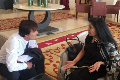 Lakshmi Puri meets with Nicolas Hulot at Climate Conference in Morocco
