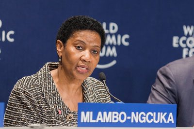 Phumzile Mlambo-Ngcuka spoke along with the four other Co-Chairs at a press conference on 4 June during the World Economic Forum on Africa 2015 in Cape Town. Copyright by World Economic Forum/Jakob Polacsek
