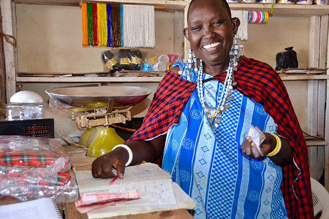 Mama Nalepo in her shop in the local market of Mamura village in Arusha, Tanzania. Photo: UN Women/Deepika Nath