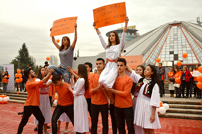 "National High School of Choreography performing in the main boulevard of Tirana at the launch of ""16 days activism against gender based violence"".   Photo credit: Together for Life NGO"
