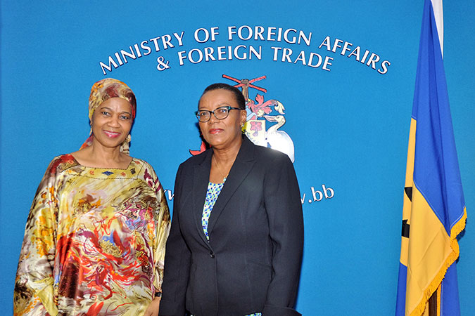 UN Women Executive Director Phumzile Mlambo-Ngcuka with Minister of Foreign Affairs and Foreign Trade of Barbados, Senator Maxine McClean. Photo: UN Women/Ricardo Leacock