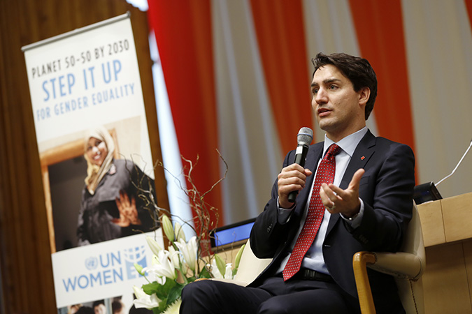 """Canadian Prime Minister Justin Trudeau participates in an """"Armchair Conversation on Gender Equality"""" on 16 March 2016. Photo: UN Women/Ryan Brown"""