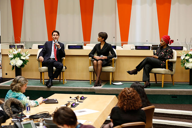 Canadian Prime Minister Justin Trudeau and UN Women Executive Director Phumzile Mlambo-Ngcuka take part in a discussion on gender equality, moderated by Sade Baderinwa, Emmy Award-winning journalist of WABC Channel 7. Photo: UN Women/Ryan Brown