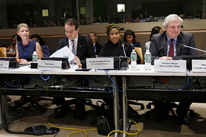 UN Women Executive Director Phumzile Mlambo-Ngcuka addresses the CSW60 World Humanitarian Summit side event. Photo: UN Women/Ryan Brown