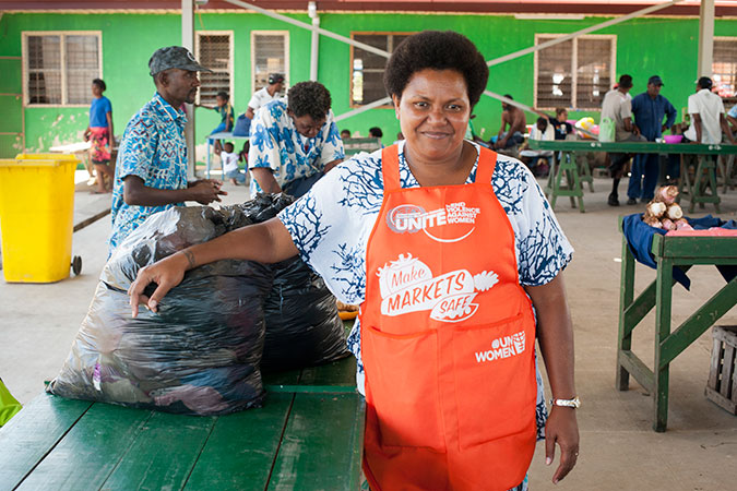 Varanisese Maisamoa, 38, pulled together half of what she had left after the cyclone to donate to her fellow market vendors.   Credit: UN Women/Murray Lloyd