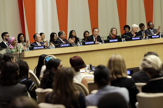 United Nations Secretary-General Ban Ki-moon speaks at the presentation of the first report by the High-Level Panel for Women's Economic Empowerment. Photo: UN Women/Ryan Brown