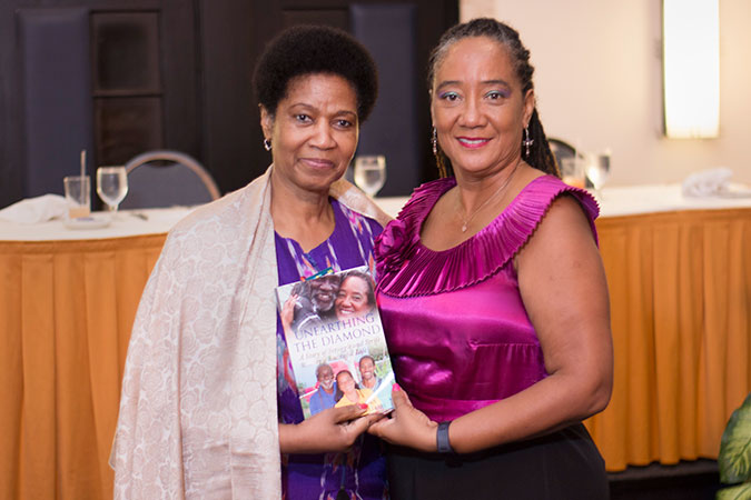 Author and entrepreneur Tamika Williams with UN Women Executive Director Phumzile Mlambo-Ngcuka on 1 November. Photo: UN Women/Jean-Pierre Kavanaugh