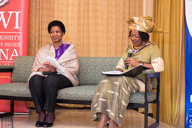 Professor Verene Shepherd, head of the Regional Institute for Gender and Development Studies of the University of the West Indies with UN Women Executive Director Phumzile Mlambo-Ngcuka during a town hall discussion on 1 November. Photo: UN Women/Jean-Pierre Kavanaugh