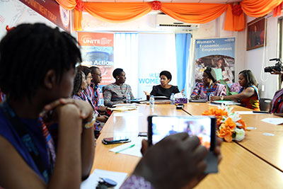 At a meeting with staff at the UN Women Liberia Office, the Executive Director commended the team for their work during the Ebola virus outbreak to respond to the needs women and girls across the country. Photo: UN Women/Stephanie Raison