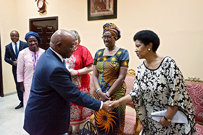 UN Women Executive Director Phumzile Mlambo-Ngcuka congratulated Liberia Vice-President Joseph Boakai. Photo: UN Women/Winston Daryoue