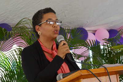 Nadege Beauvil speaking at an International Women's Day event on 8 March 2016, before a group of government and civil society partners. Photo: UN Women/Alide Andral