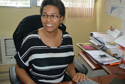 Nadege Beauvil in her Port-au-Prince office. Photo: UN Women/Alide Andral