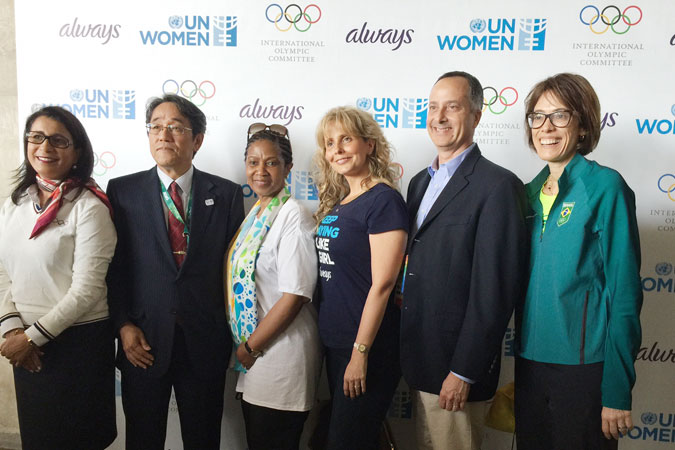 L-R:  Nawal El Moutawakel, Chair of the Coordination Commission for the Games of the XXXI Olympiad - Rio de Janeiro 2016; Kunio Umeda, Ambassador of Japan to Brazil ; Phumzile Mlambo-Ngcuka, UN Women Executive Director; Juliana Azevedo, Vice President of Procter & Gamble; Alan Abrahamson, Columnist, 3 Wire Sports and NBCOlympics.com ; Adriana Behar, Brazil Olympic Committee Group with girls. Photo: UN Women/Beatrice Frey
