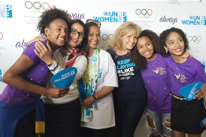 L-R:  Marcelly Vitória de Mendonça, 16, handball, 'One Win Leads to Another' participant; Nawal El Moutawake, Vice-President, International Olympic Committee (IOC); Phumzile Mlambo-Ngcuka, UN Women Executive Director; Juliana Azevedo, Vice President of Procter & Gamble; Kaillana de Oliveira Donato, 14, basketball, 'One Win Leads to Another' participant; Adrielle Alexandre da Silva, 12, ballet and rhythmic gymnastics, 'One Win Leads to Another' participant. Photo: UN Women/Beatrice Frey