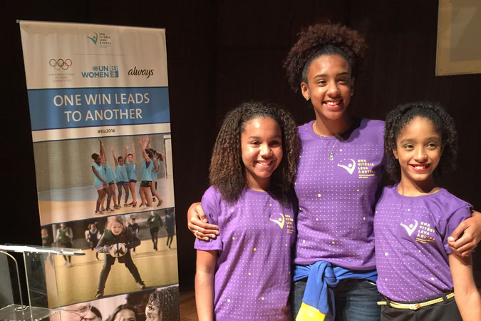 L-R:Kaillana de Oliveira Donato, 14, basketball, 'One Win Leads to Another' participant; Marcelly Vitória de Mendonça, 16, handball player, 'One Win Leads to Another' participant; Adrielle Alexandre da Silva, 12, ballet and rhythmic gymnastics, 'One Win Leads to Another' participant. Photo: UN Women/Beatrice Frey