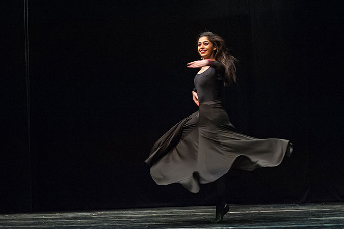 A dancer at the International Women's Day celebration in Palestine.