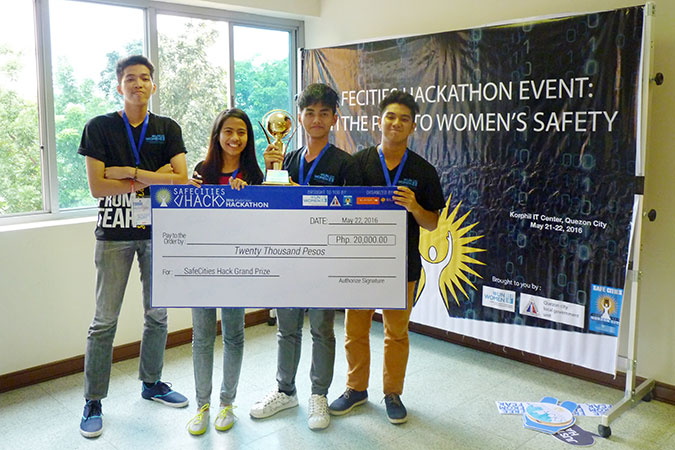 Winners of the Student Category, Lester's Pips from PLM University. Left to right: Marc Joseph S. Aviñante, Ma. Richelle B. Aguilar, Allen Benedict J. Magpoc, Roemil G. Cabal. Photo: UN Women Safe Cities Manila Programme