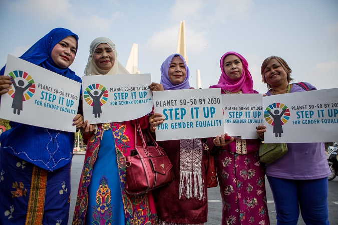 Women in Thailand participated in a march to commemorate International Women's Day. Photo: UN Women/Montira Narkivichien